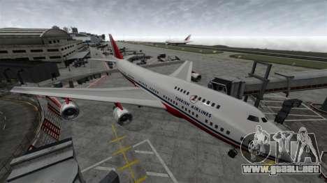 El avión de Turkish Airlines para GTA 4 Vista posterior izquierda