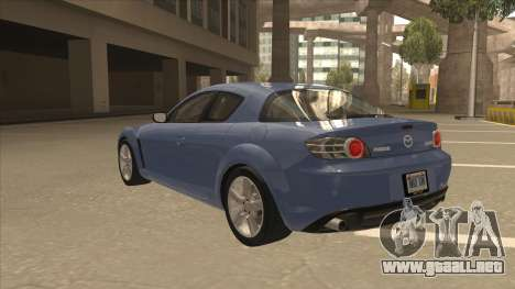 Mazda RX8 Tunable para GTA San Andreas vista hacia atrás