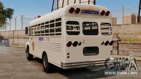 El autobús de la prisión Liberty City para GTA 4 Vista posterior izquierda