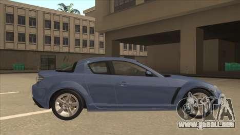 Mazda RX8 Tunable para GTA San Andreas vista posterior izquierda