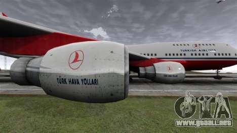 El avión de Turkish Airlines para GTA 4 vista hacia atrás