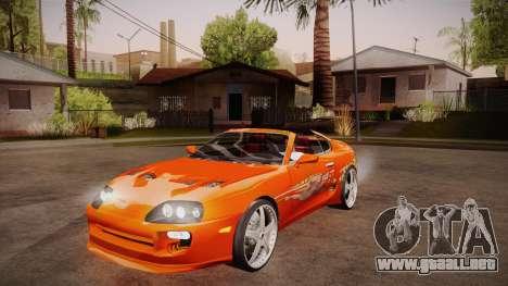 Toyota Supra TwinTurbo FNF 1997 para visión interna GTA San Andreas