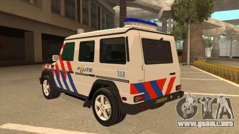 European Emergency Mercedes-Benz G 2008 para GTA San Andreas vista hacia atrás