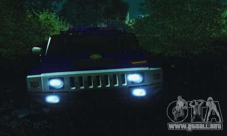 Hummer H2 G.E.O.S. para GTA San Andreas vista hacia atrás