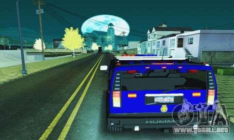 Hummer H2 G.E.O.S. para GTA San Andreas vista posterior izquierda