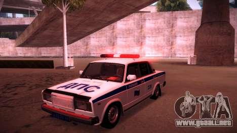 VAZ 2107 policía DPS para vista inferior GTA San Andreas