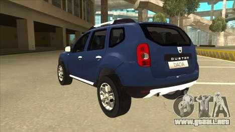 Dacia Duster 2014 para GTA San Andreas vista hacia atrás