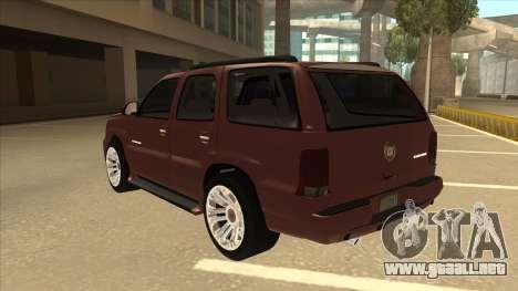 Cadillac Escalade 2002 para GTA San Andreas vista hacia atrás