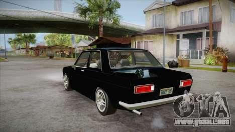 Datsun 510 RB26DETT Black Revel para GTA San Andreas vista posterior izquierda
