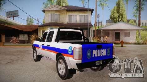 Ford Ranger 2011 Province of Buenos Aires Police para GTA San Andreas vista posterior izquierda