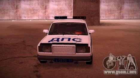 VAZ 2107 policía DPS para la visión correcta GTA San Andreas