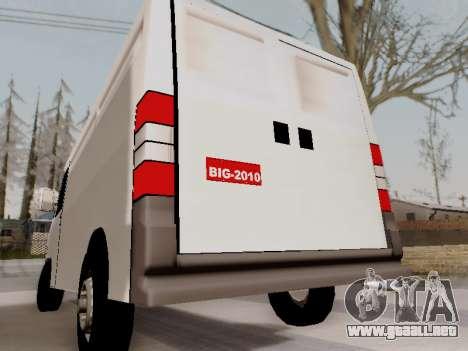Fiat Ducato Cargo para GTA San Andreas vista posterior izquierda