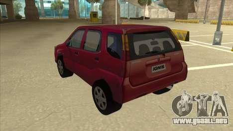Suzuki Ignis para GTA San Andreas vista hacia atrás
