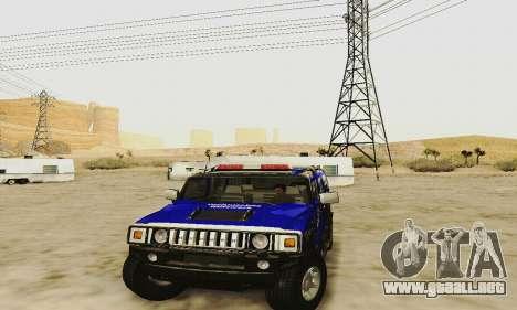 THW Hummer H2 para visión interna GTA San Andreas