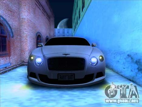 Bentley Continental GT Final 2011 para GTA San Andreas vista hacia atrás
