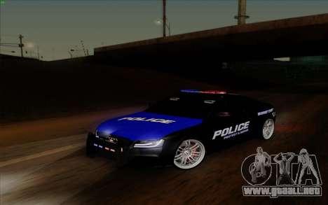 Audi RS5 2011 Police para GTA San Andreas vista hacia atrás