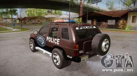 Nissan Terrano RB26DETT Police para GTA San Andreas vista posterior izquierda