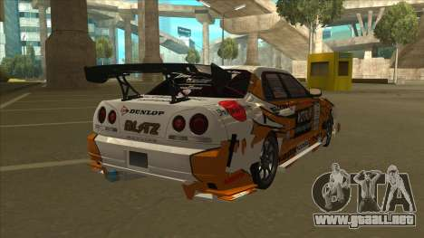 Nissan Skyline ER34 Uras GT Blitz 2010 para GTA San Andreas vista posterior izquierda