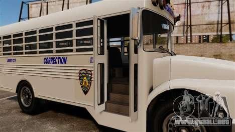 El autobús de la prisión Liberty City para GTA 4 vista hacia atrás