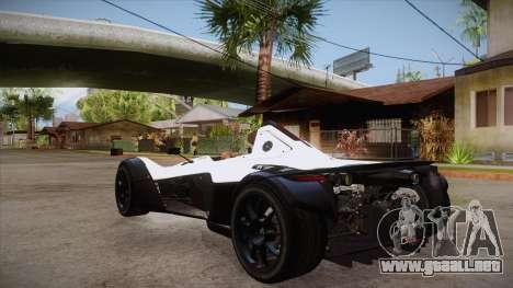 BAC Mono 2011 para GTA San Andreas vista posterior izquierda