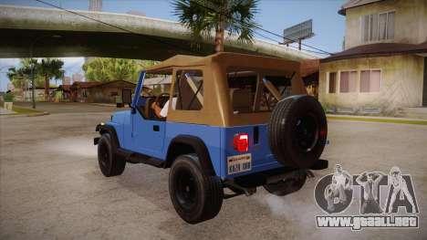 Jeep Wrangler V10 TT Black Revel para GTA San Andreas vista posterior izquierda