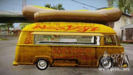 Hot Dog Van Custom para GTA San Andreas vista hacia atrás