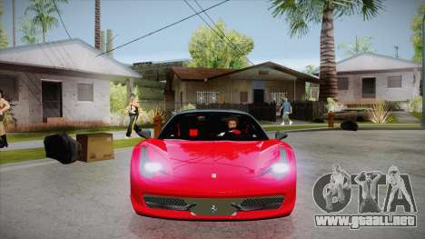 Ferrari 458 Italia Novitec Rosso 2012 v2.0 para GTA San Andreas vista hacia atrás