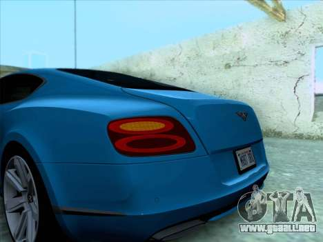 Bentley Continental GT Final 2011 para vista lateral GTA San Andreas