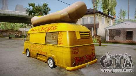 Hot Dog Van Custom para GTA San Andreas vista posterior izquierda