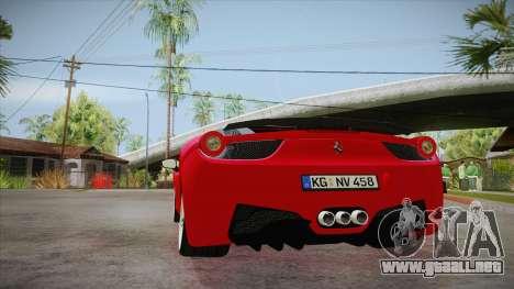 Ferrari 458 Italia Novitec Rosso 2012 v2.0 para GTA San Andreas vista posterior izquierda