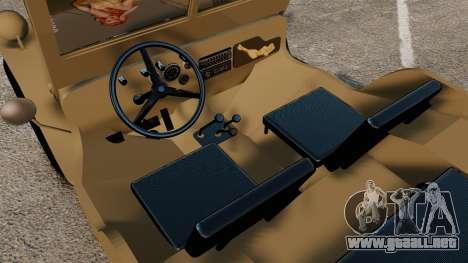 Willys MB para GTA 4 vista interior