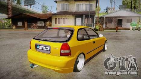 Honda Civic 1998 Tuned para la visión correcta GTA San Andreas