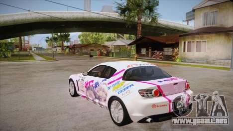 Mazda RX8 Tunnable para GTA San Andreas vista posterior izquierda