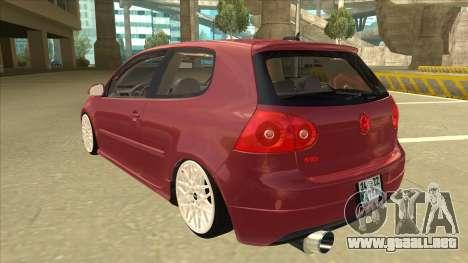 Volkswagen Golf V para GTA San Andreas vista hacia atrás