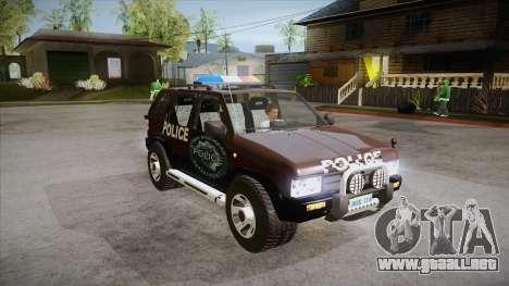 Nissan Terrano RB26DETT Police para GTA San Andreas vista hacia atrás