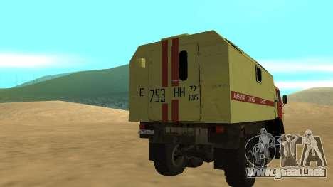 Luces de peligro KAMAZ 4310 para GTA San Andreas vista posterior izquierda