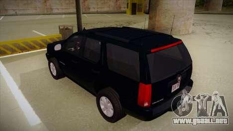 Cadillac Escalade 2011 Unmarked FBI para GTA San Andreas vista hacia atrás