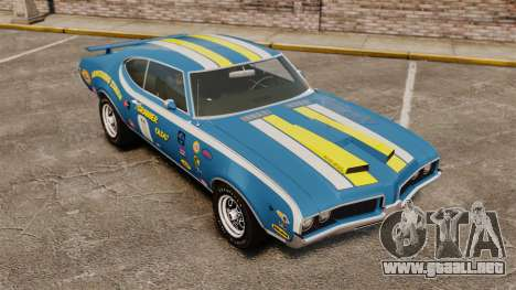 Oldsmobile Cutlass Hurst 442 1969 v2 para GTA 4 vista superior