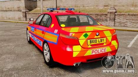 BMW M5 E60 Metropolitan Police 2010 ARV [ELS] para GTA 4 Vista posterior izquierda