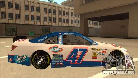 Toyota Camry NASCAR No. 47 Clorox para GTA San Andreas vista posterior izquierda