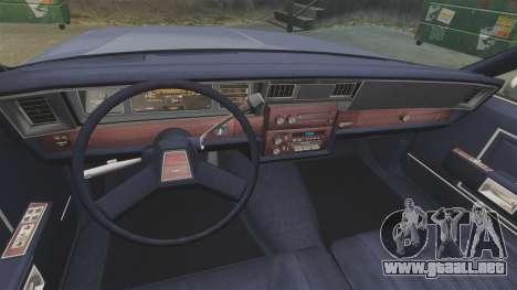 Chevrolet Caprice 1986 para GTA 4 vista hacia atrás