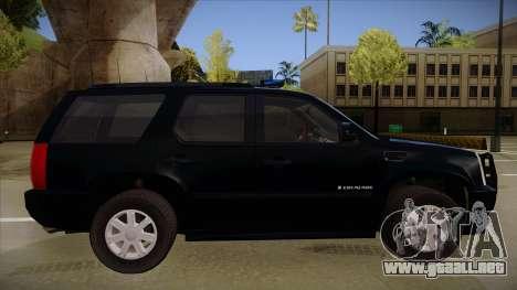 Cadillac Escalade 2011 FBI para GTA San Andreas vista posterior izquierda