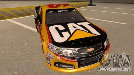 Chevrolet SS NASCAR No. 31 Caterpillar para GTA San Andreas left