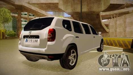 Dacia Duster Limuzina para la visión correcta GTA San Andreas