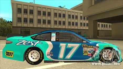 Ford Fusion NASCAR No. 17 Zest Nationwide para GTA San Andreas vista posterior izquierda