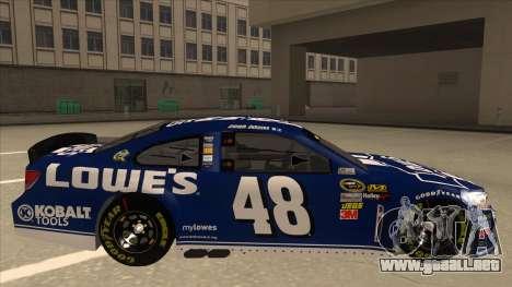 Chevrolet SS NASCAR No. 48 Lowes blue para GTA San Andreas vista posterior izquierda