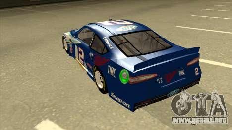 Ford Fusion NASCAR No. 2 Miller Lite para GTA San Andreas vista hacia atrás