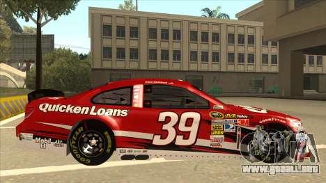 Chevrolet SS NASCAR No. 39 Quicken Loans para GTA San Andreas vista posterior izquierda