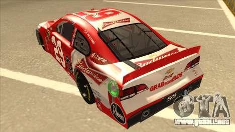 Chevrolet SS NASCAR No. 29 Budweiser para GTA San Andreas vista hacia atrás