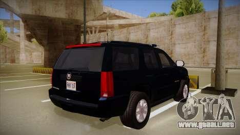 Cadillac Escalade 2011 FBI para la visión correcta GTA San Andreas